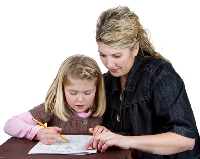 A teacher or mom helping a student with homework